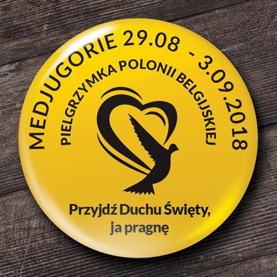 przypinka religijna pielgrzymka polonii belgijskiej medjugorie przyjdź duchu święty ja pragnę